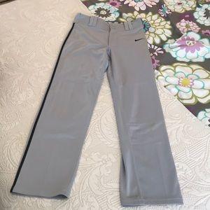 Nike Boys Baseball Pants Gray with black stripe